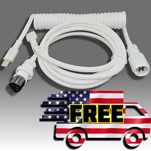 Custom Coiled White Double Sleeved USB Type C Aviator Cable Mechanical Keyboard