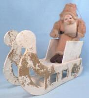 Santa Claus & Sleigh Christmas Ornament Decoration Cotton Cardboard Vintage