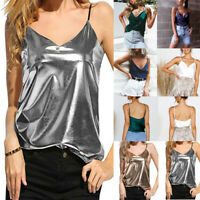 Womens Sleeveless Vest Tank Tops Shiny Liquid Wet Look Club Blouse Loose T Shirt