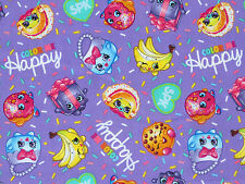 FAT QUARTER  SHOPKINS COLOR ME HAPPY GROCERY 100% COTTON FABRIC SPRINGS CREATIVE