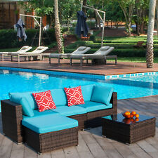 Polar Aurora 5pcs Patio Furniture Set Outdoor Rattan Wicker Sectional Sofa Set
