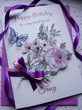 Handmade Personalised 3D Birthday Card Floral Bouquet Sister Daughter Mum  C444