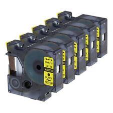 5 x Compatible Dymo D1 12mm x 7m black on yellow Label tapes (45018) VAT inc