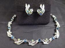 Vtg Art Signed Sparkling AB & Sapphire Blue Rhinestone Necklace & Clip Earrings