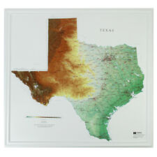 """Hubbard Amep Texas Raised Relief Map Raven Style- unframed 28"""" x 27"""" approx"""