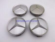 "Mercedes Wheel Center Cap Set of 4 Silver  S-Class SL Hub Genuine OEM 3"" Fair"