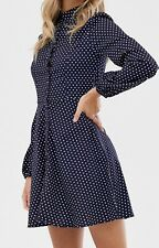 QED London Button Through Spot Print Shirt Dress In Navy/Whie UK Size 14  #41