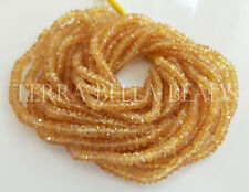 """8"""" YELLOW ORANGE SAPPHIRE faceted precious gem stone rondelle beads 2.5mm - 3mm"""