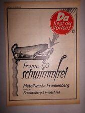 Orig. 1928 Motor & Sports Advertising Advertising Framo Frankenberg 133 Saddle