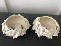 Atlantic Mold Christmas Holly Ceramic Candle Holder White Lot Of 2 Vintage