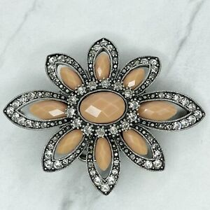 Silver Tone Faceted Stone Rhinestone Flower Floral Belt Buckle