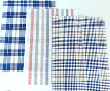 3x Tea Towel Kracht Check Stripes Set Semi Linen Kitchen Cloths Checked Blue