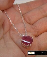 5.29 ct RUBY HEART PENDANT SILVER NECKLACE