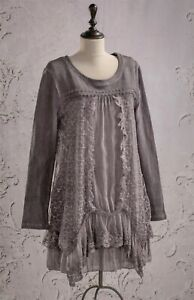 Victorian Trading Co Viola Lace Tiered Tunic Lace Blouse 1X/2X