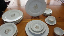 Fine China of Japan Dinnerware Flowing Wheat 46 piece Gold WHeat on White 1940s