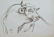 Vieux Croquis Préparatoire Vache Peintre G.Pancaldi 1922-2014 P28.7