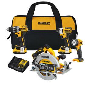 DEWALT DCK483D2 20V MAX XR BL Li-Ion Cordless 4-Tool Combo Kit New