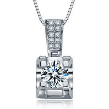 Women 925 Sterling Silver White Rhinestone Crystal Pendant Necklace Twist Chain