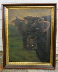 Antique Oil Folk art painting cow