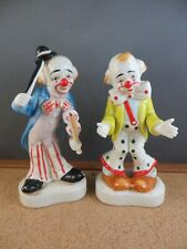 """2 Cute Homco Porcelain Clown Figurines 1445 Violin Bow Tie Red Nose 6"""""""