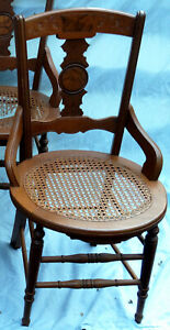 Victorian Chateau Decor chair, Eastlake Style, Burl Back Inset, Caned Seat