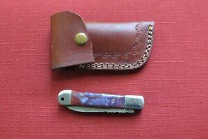 HAND MADE DAMASCUS TWO BLADE FOLDING POCKET KNIFE -Purple Ceramic CUSTOM SHEATH