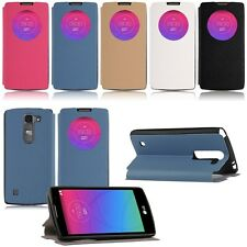 For LG Spirit 4G LTE H440N H420 Flip Quick Window View Cover Leather Case Stand