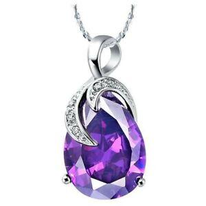 Dazzling Drop Fire Amethyst Garnet Gemstone Silver Necklace Pendants Xmas Gift