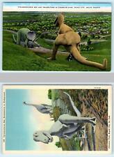 2 Postcards Rapid City, Sd~ Dinosaur Park T-Rex, Triceratops, Brontosaurus 1940s