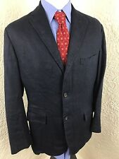Polo Ralph Lauren Navy 100% Linen 3 Button Sport Coat Blazer Jacket Medium 39R