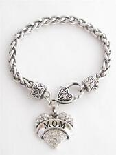 Mom Mother Momma Clear Crystal Heart Silver Lobster Claw Bracelet Jewelry Bling