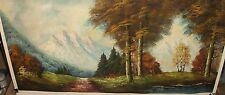 RONALD SNOW MOUNTAIN RIVER LANDSCAPE OIL ON CANVAS HUGE PAINTING