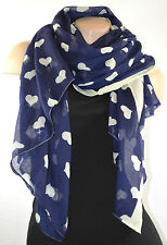LARGE NAVY BLUE SCARF WITH LOVE HEART PRINT CUTE KAWAII SHAWL SARI WRAP SARONG