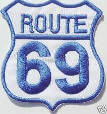 AUFNÄHER patch Motorrad Route 69 USA blau weiss