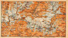 Carta geografica antica Old Map SVIZZERA Ghiacciaio Zermatt Vallese 1905