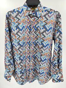Men's Dress Shirt Size Small Multicolor Geo Visconti Black Button-Up Top New