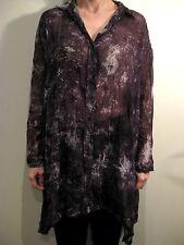 RAOER Size 42 or 12 Grey Loose Sheer Shirt Dress Blouse