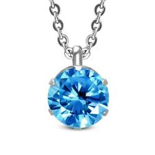 Stainless Steel Silver-Tone Solitaire Prong-Set Blue Crystal Pendant Necklace