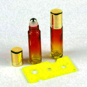 6Pcs 10ML Thick Red Gradient Yellow Glass Roller Bottles Metal Roller Ball