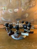 Vtg 1950s STANDARD Rubber Stamp Carousel Holder with 12 Clamps Achilles & stamps