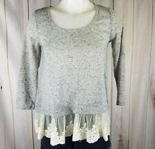 Arizona Jeans Lace Trim S Grey Ivory Swing 3/4 Sleeve Tunic Top White Heather