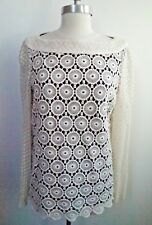 NEW TORY BURCH $425 Janeen off-white flower shaped crochet lace tunic top size 6