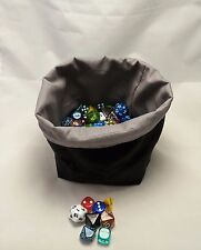 RPG Dice Bag - Grey Black - Square Reversible Drawstring Tile Pouch - Meeple D&D