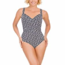 MIRACLESUIT SWIMSUIT DOUBLE DIAMOND  BLACK & WHITE WOMENS SIZE 12 NWT FREE SHIP