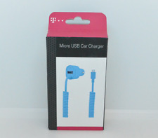 New OEM T-Mobile 3.4A Blue Micro USB Car Charger with Extra USB Port