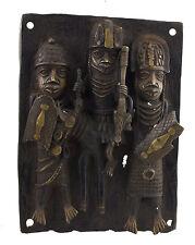 Plaque de palais Bini Edo Oba  -bronze africain Benin- Nigeria -39x29-1275