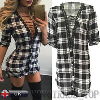 New Women Ladies Sexy Long Sleeve Blouse Tops Casual Mini Dress Shirt Cardigan