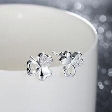 Plated Crystal Jewelry Earrings Zircon Ear Studs Classic Luck 00004000 y Clover Silver