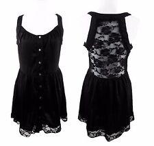 Honey Punch Little Black Boho Sun Dress Size L Back Lace