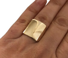 MR010 LARGE Genuine 9K 9ct Solid YELLOW GOLD Rectangular SHINY Ring size 10